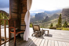 Glamping Holidays. A Beautiful View Of Mountains And Blue Sky In Distance.