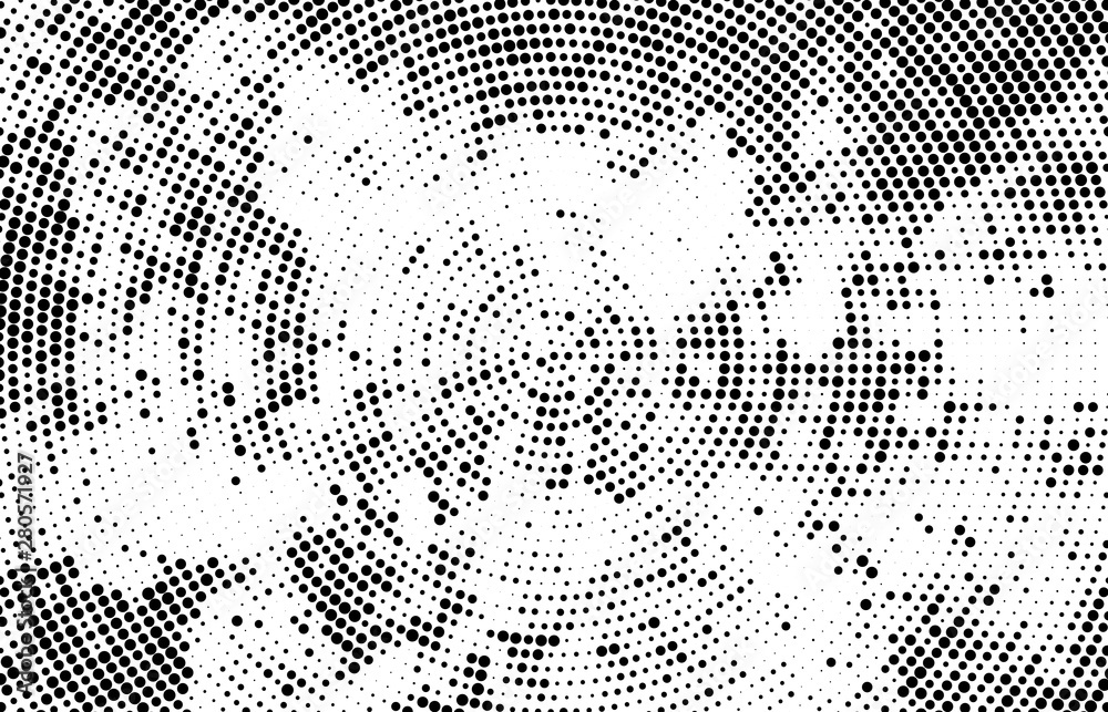 Fototapety, obrazy: Abstract radial halftone texture. Monochrome background of black dots on white.