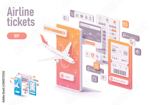 Photo Vector booking airline tickets app template