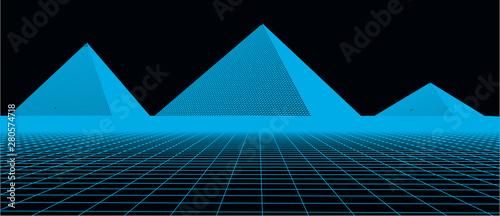 Foto auf AluDibond Blau 3D technology vector illustration. Abstraction. Landscape design of the pyramids.