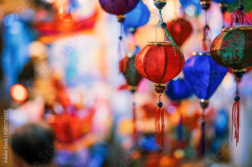 Leinwand Poster  Colorful tradition lantern at china town lantern market in saigon, Vietnam