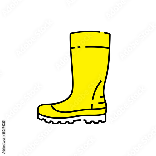 Fotomural  Yellow gumboots line icon