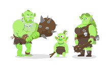 Ork Ogre Troll Family Cartoon Flat Style Set