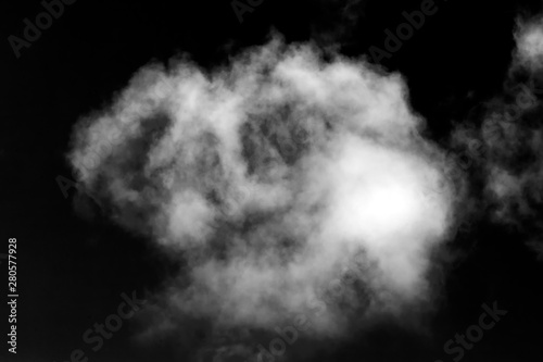 Foto op Plexiglas Hemel Cloud isolated on a black background for making texture brushes monochrome image