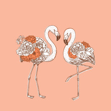 Flamingo With Rose And Peony F...