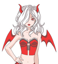 Vector Illustration Of Manga Cartoon Style Girl With White Hair Wearing A Red Halloween Devil Costume With Wings And Horns
