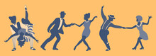 Group Of People Dancing Swing. Men And Women In 1940s Or 1950s Style Performing Lindy Hop Or Boogie Woogie. Vector Illustration In Blue And Yellow Colors.