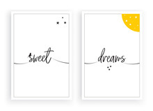 Sweet Dreams, Minimalist Wall Decor Vector, Wall Decals, Poster Design, Wording Design, Lettering, Wall Art Decoration, Home Decor, Two Pieces Wall Art Decor