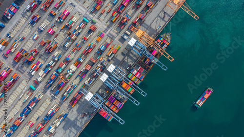 Montage in der Fensternische Rotterdam Aerial view cargo ship terminal, Unloading crane of cargo ship terminal, Aerial view industrial port with containers and container ship.