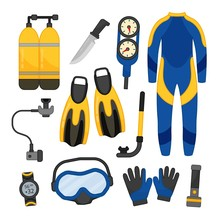Vector Set Of Equipment For Diving.