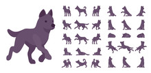 Black Dog Set. Medium Size Pet, Family Companion, Active Fun, Home Guarding, Farm Security, Cute Agile Breed. Vector Flat Style Cartoon Illustration Isolated, White Background, Different Views, Poses