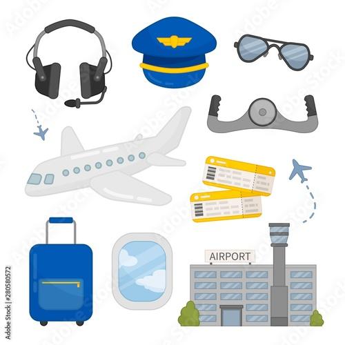 Fotografie, Obraz Vector set of aviation icons