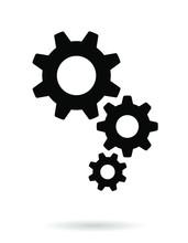 Settings Icon. Black Gears. Functions Symbol