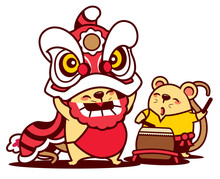 Cartoon Cute Rat Enjoy With Lion Dance And Cute Rat Playing Drum. Chinese New Year 2020 - Vector