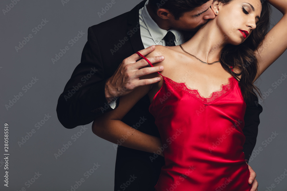 Fototapeta Couple caught in a romantic moment