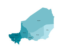 Vector Isolated Illustration Of Simplified Administrative Map Of Niger. Borders And Names Of The Regions. Colorful Blue Khaki Silhouettes