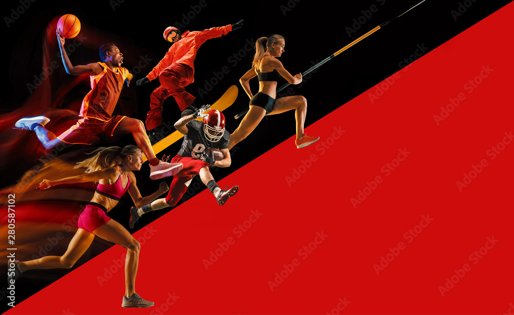 Fototapety, obrazy: Creative collage of sportsmen in action of game. Black and red background. Advertising, sport, healthy lifestyle, motion, activity, movement concept. American football, basketball, pole vault.