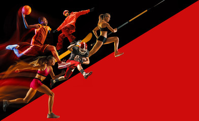 FototapetaCreative collage of sportsmen in action of game. Black and red background. Advertising, sport, healthy lifestyle, motion, activity, movement concept. American football, basketball, pole vault.