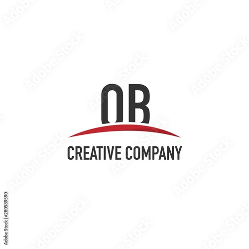 Fotografía  Initial Letter OB Design Logo with Red Swoosh