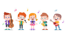 Cartoon Little Kids Playing Mu...
