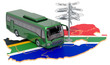 canvas print picture - South Africa Bus Tours concept. 3D rendering