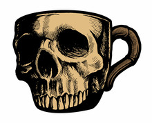 Cup Of Coffee With The Human Skull Drawing, Vector Image.