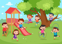 Children Playing Outside Vector Illustration