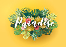 Green And Yellow Summer Tropical Background With Exotic Monstera Palm Leaves And Hibiscus Flowers. White Handlettering With 3d Effect. Vector Floral Illustration.