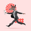 Time to work. Man in suit headed by deer's head dancing on coral background. Negative space to insert your text. Modern design. Contemporary art. Creative conceptual and colorful collage.