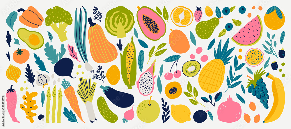 Fototapeta Vector colorful food set for your design. Cute doodle illustration with vegetables and fruits isolated on white background.