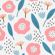Seamless Pattern With Modern Floral And Abstract Elements In Fresh Pastel Colors. Abstract Brushstroke Background, Colorful Pattern.