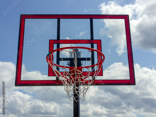 red basketball system backboard  during sunny day Canvas Print