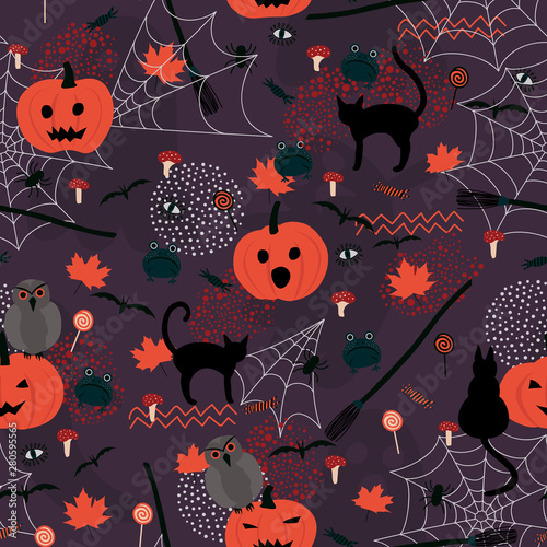 fototapeta na ścianę Halloween seamless holiday pattern. Background with hand drawn pumpkins, cats, frogs, mushrooms, spiders, broomsticks, owls, and autumn leaves