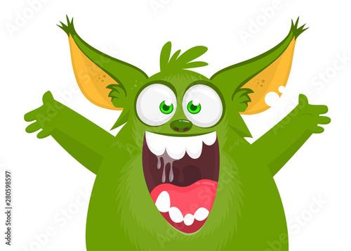 Funny cartoon monster. Vector Halloween illustration Canvas Print
