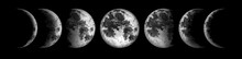 Moon Phases Isolated On Black ...
