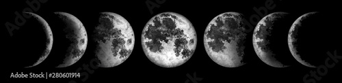 Obraz Moon phases isolated on black background. Watercolor hand drawn illustration. - fototapety do salonu