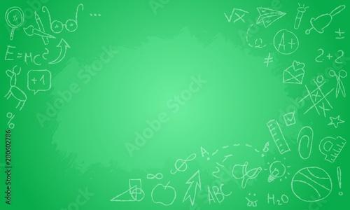 Fototapety, obrazy: Horizontal back to school green blackboard vector template.