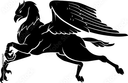 Fantasy Hipogriff Flying, Isolated Silhouette Canvas-taulu