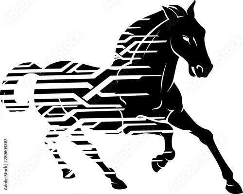 Fotografie, Obraz Horse Silhouette Galloping Geometric Style