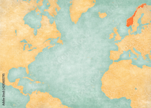 Map of North Atlantic Ocean - Norway Tablou Canvas