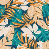 Streszczenie wzór z kolorowych tropikalnych liści i kwiatów na pastelowym tle. Projekt wektor. Nadruk dżungli. Tle kwiatów. Druk i tekstylia. Egzotyczne tropiky. Letni projekt.