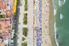 Aerial View Of Sitges, Coastal...