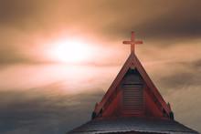 Wood Cross On Thai Style Roof ...