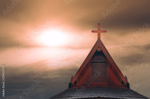 Fotografie, Obraz  wood cross on thai style roof of historical wood church in rural Thailand
