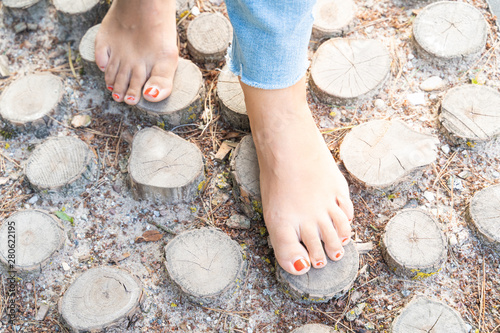 Hardening feet (barefoot walking) to different surfaces and temperatures accordi Wallpaper Mural