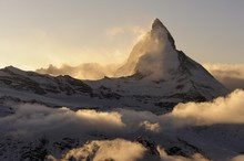 Mt Matterhorn In The Light Of The Setting Sun, Zermatt, Valais, Switzerland, Europe, Europe