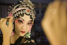 Female Beijing Opera Performer Making Up, Traditional Chinese Culture, China, Asia