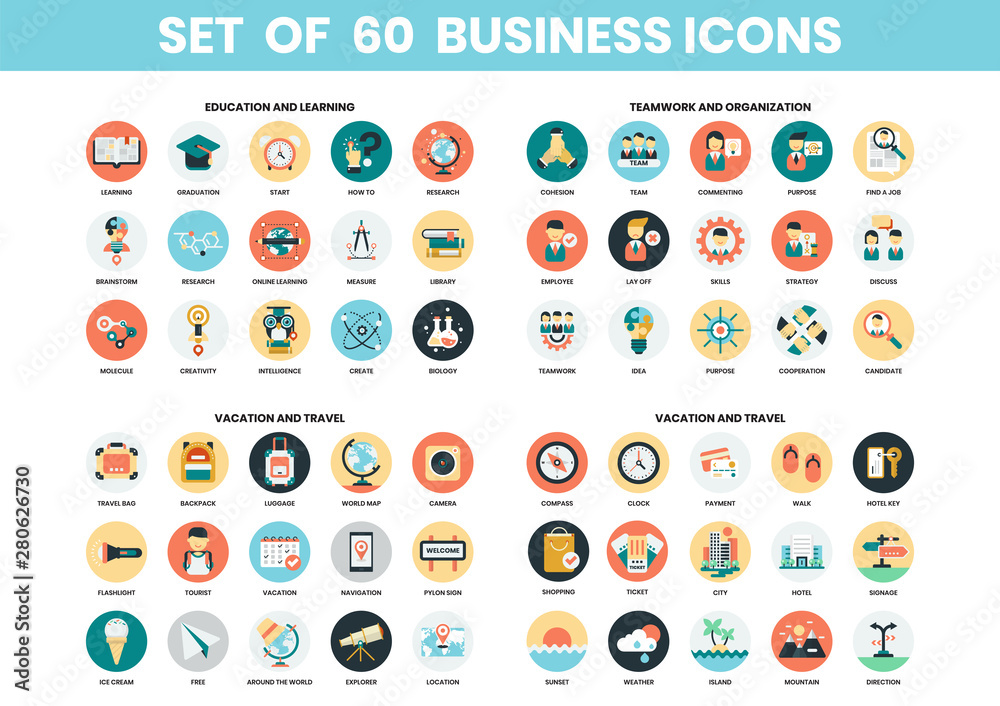 Fototapeta Business icons set for business