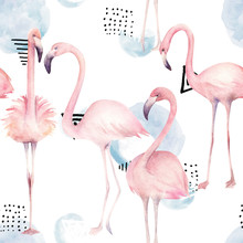 Abstract Seamless Pattern With Watercolor  Flamingos. Hand Drawn Illustration.
