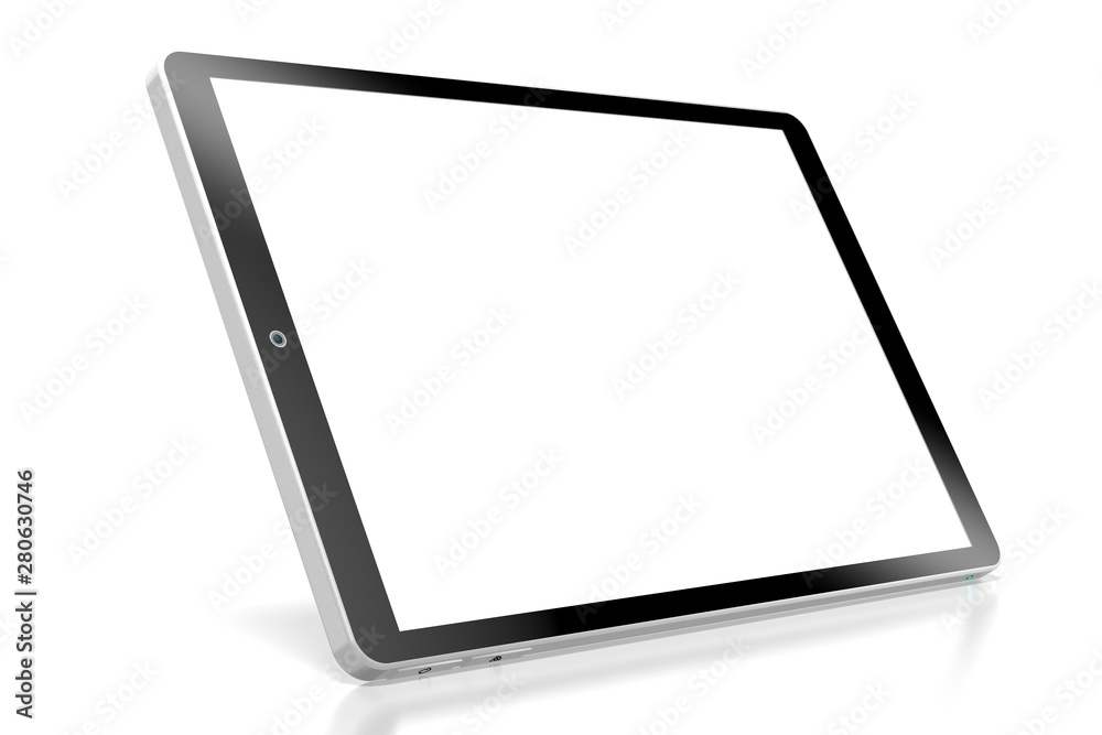 Fototapeta 3D brandless tablet with empty screen isolated on white background